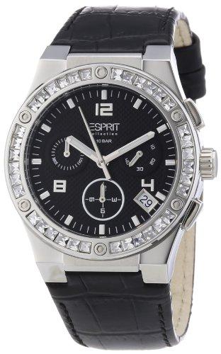 Esprit Damen-Armbanduhr Pherousa Black Chronograph Quarz Leder EL101822F02