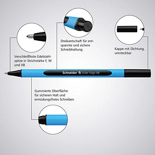 Schneider Slider Edge XB Ballpoint Pen, Black/Red/Blue/Green, Set of 4 Pens (152294) Photo #10