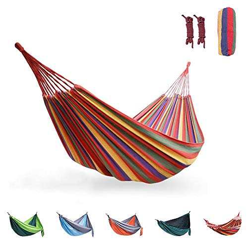 WOLF WALKER Canvas Double Outdoor Hammock, Multiples Portable Travelling Hammock with Carrying Bag Yard Camping Tree Suspended Hanging Bed with Tree Straps