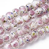 PH PandaHall 60pcs 8~10mm Gold Sand Lampwork Beads Glass Handmade Round Loose Beads for Jewelry Craft Making with 2mm Hole