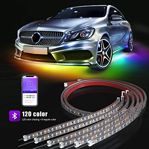 BOKIC Underglow Lights for Cars Trucks Boats, 6 Pcs 12V 300 LEDs Bluetooth Led Strip Lights with 120 Dream Colors Chasing, APP Control Underbody Lights, Waterproof IP68 Light Kit