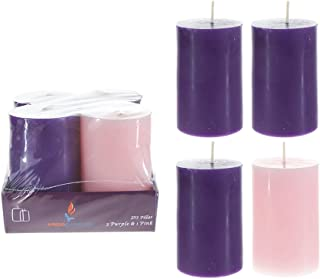 Mega Candles 4 pcs Unscented Christmas Advent Round Pillar Candle, Hand Poured Premium Wax Candles 2 Inch x 3 Inch, Holidays, Church, Decorations, Celebration, Party, Home Décor & More