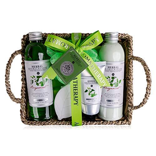 Accentra Set de baño Herbal Wellness y Spa de Accentra en cesta de algas marinas - Precioso set de regalo de 6 piezas para cualquier ocasión