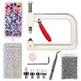 Pearl Setting Machine, DIY Handmade Beads Rivet Hand-Press Tool, with Two Boxes of Colored Beads Pearl Rivet Studs and 5 Sizes of Molds forClothes/Shoes/Hats/Bags/Skirt/Crafts Jeans Decoration