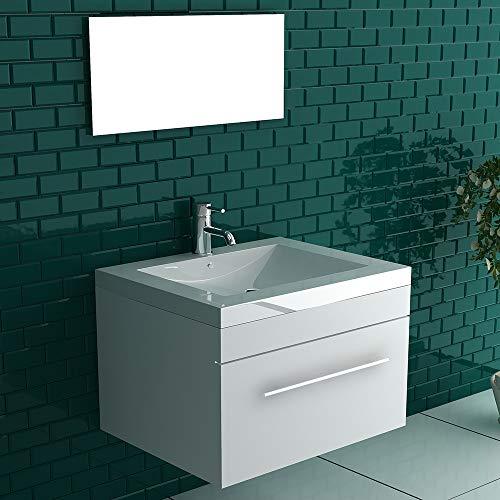Alpenberger Design Mika Badmöbel Set in Weiß Hochglanz 60 x 45 cm Waschbecken aus hochwertigem Mineralguss inkl. Unterschrank mit Schublade Soft-Close Funktion