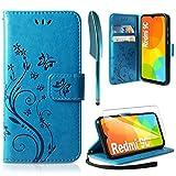 AROYI Lederhülle Kompatibel mit Xiaomi Redmi 9C Hülle & Schutzfolie, Flip Wallet Handyhülle PU Leder Tasche Hülle Kartensteckplätzen Schutzhülle Kompatibel mit Xiaomi Redmi 9C