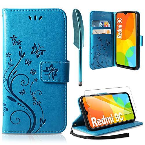 AROYI Funda Compatible con Xiaomi Redmi 9C y Protector de Pantalla, Relieve Dibujo Carcasa de Tipo Libro Soporte Plegable Ranuras para Tarjetas Magnético Ultra Delgado Carcasa Case, Azul