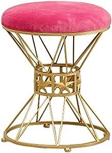 Gartenmöbel Mode Make-up Hocker, Gepolsterter Hocker Runde Fußstütze Für Wohnzimmer Schlafzimmer Coffee Shop-Rose Rot, 35x45 cm Küche Osmanen LEBAO (Farbe : Rot)
