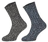 Tobeni 4 Paar warme Damen Herren Norweger Socken Wintersocken Schafwollsocken vorgewaschen Unisex Farbe 2x Anthrazit 2x Marine Grösse 39-42