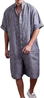 Men's Cotton and Linen Jumpsuit Dungarees Overalls Super Baggy Short Onesies Rompers with Pockets