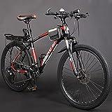 GREAT Bicicleta de montaña, 26'Mountain Bike Student Student Bicycle Lightweight Carbon Steel Frame Suspension Full Bike Dual Disc Brakes Break Bikes Road(Size:24 Speed,Color:Negro)