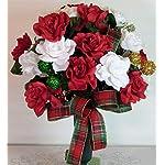 XL Christmas Mixture w Snowman Artificial Silk Flower Cemetery Tombstone Grave Saddle