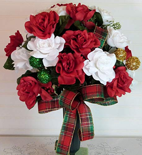 Silk Florals & Frills Christmas Cemetery Arrangement with Ornaments, Cemetery Arrangement with Red and White Roses, Cemetery Vase