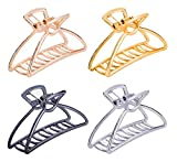 TANG SONG 4PCS Large Metal Hair Claw Clips Hair Catch Barrette Jaw Clamp for Women Half Bun Hairpins for Thick Hair(Silver+Gold+Rose Gold+Black)