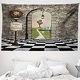 ABAKUHAUS Alice nel Paese delle Meraviglie Tappeto da Parete e Copriletto, Fairytale Motif, Colori Che Non sbiadisce, 230 x 140 cm, Multicolore