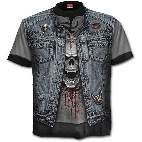 Spiral - Thrash Metal - T-Shirt mit Allover-Motiv - Schwarz - L