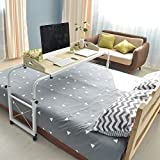 Height Adjustable Overbed Table, Table with Wheels, 94.5'' Queen Size Mobile Desk, for Pub...