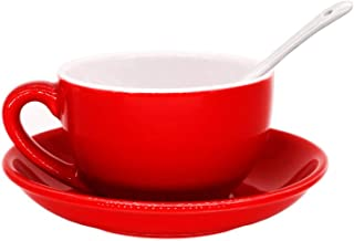 Porcelain Cappuccino Cups with Saucers, Porcelain Espresso Cups with Saucers, Coffee Drinks, Latte, Cafe Mocha and Tea (Red)