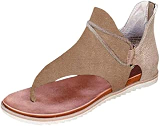 Athlefit Women's Super Posh Gladiator Sandals Comfy Flip Flop Flat Sandals