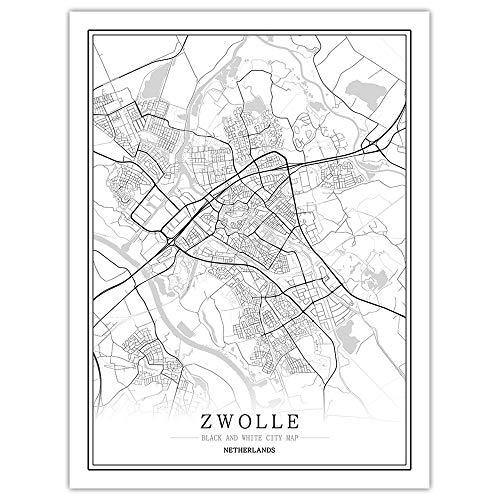 Impresión De Lienzo,Mapa De La Ciudad De Zwolle, Holanda Simple Cartel Mural En Blanco Y Negro De Arte Pop Pintura Minimalista Modular Vertical Del Espacio De Oficina Viva Arte Personalizada Decorac