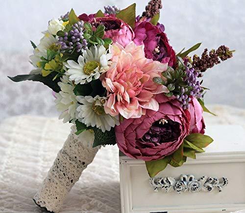 Handmade Lila Braut Hochzeit Bouquet Silk Blumen mit Band Brautsträuße Künstliche