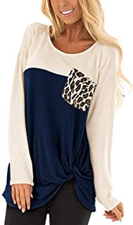 KANGMOON Womens Long Sleeve Tops Round Neck Color Block Knotted Tunics Loose Fit Elegant Leopard Pullover Sweatshirt
