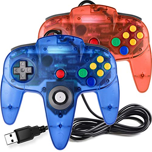 [USB-Version] 2 Pack Classic N64 Controller, iNNEXT N64 Wired USB PC Game Pad Joystick, N64 Bit USB Wired Game Stick für Windows PC Mac Linux Raspberry Pi 3 Blau transparent / Rot transparent
