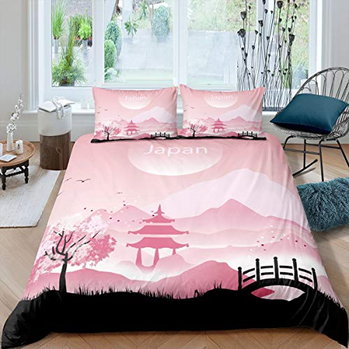 Bridge Comforter Cover Rolling Mountain Bedding Set For Kids Boys Girls Pavilion Flying Bird Duvet Cover Twin Size With 1 Pillow Case Japan Style Natural Bedspreads Cover Pink Bedroom Decoration