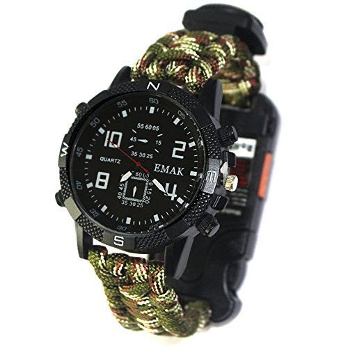 HOMYY Outdoor Survival Armbanduhr Camping Wandern EDC Armband Uhr Sicherheits-Ausrüstung Rettungsseil mit Paracord, Kompass, Pfeife, Taschenlampe, Survival Gear, Armee Camouflage