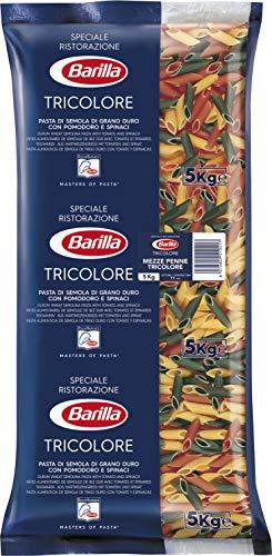 Barilla Hartweizen Pasta Mezze Penne Tricolori n. 78 – 1er Pack bunte Pasta (1x5kg)