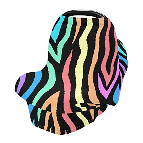 Nursing Cover Breastfeeding Scarf Colorful Zebra Print - Baby Car Seat Covers, Infant Stroller Cover, Carseat Canopy for Girls and Boys (be12a)