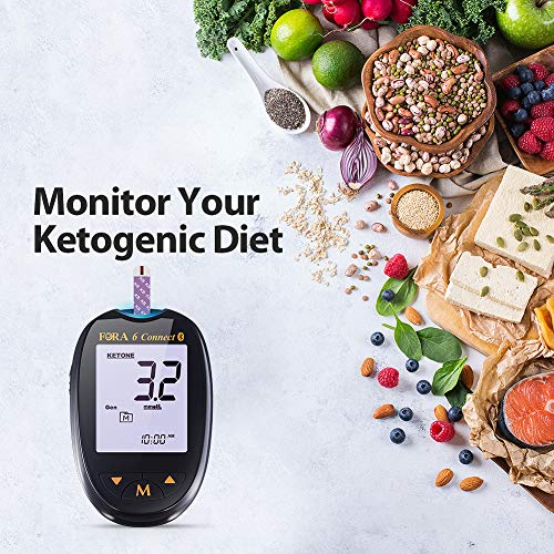 FORA 6 Connect KT20 Bluetooth Blood Ketone Testing Meter Kit to Monitor Your Keto Low Carb Diet and Nutritional Ketosis via Smartphone App,1 Meter, 1 Lancing, 100 Lancets, 20 Ketone Strips, Carry Case