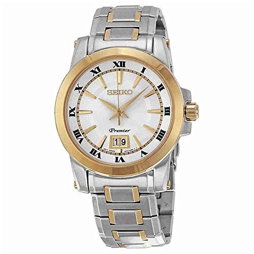Seiko SUR016 Premier Two Tone Stainless Steel Silver Dial Men's Quartz Watch