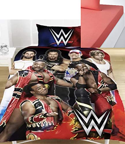 WWE Legends 'Super 7' Single Bed Duvet Cover & Pillowcase Set & FREE FITTED SHEET. Reversible, Multicoloured, Poly-Cotton Material, Wrestling Bed Set