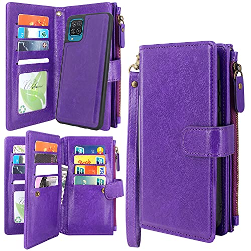 Harryshell Detachable Magnetic Zipper Wallet Leather Case Cash Pocket with 12 Card Slots Holder Wrist Strap for Samsung Galaxy A12 5G (Purple)