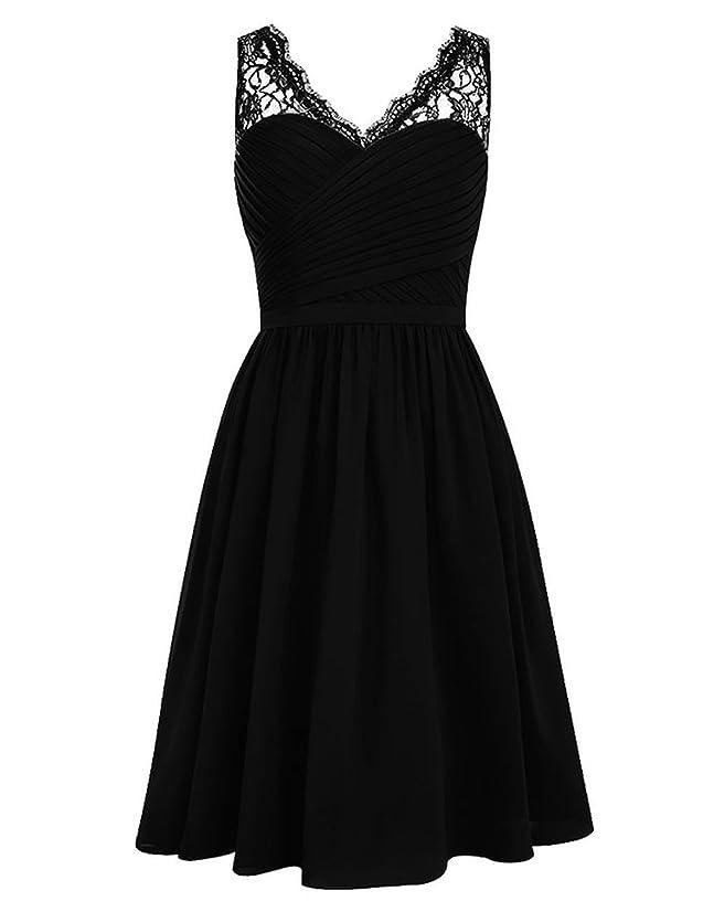 JAEDEN Lace Short Bridesmaid Dresses Short Pleat Prom Party Dress for Wedding Gown Black XL
