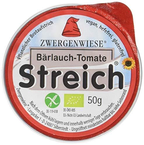 Zwergenwiese Bärlauch-Tomate Streich 50g Bio Brotaufstrich Vegetarisch, 12er Pack (12 x 50 g)