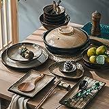 Ceramic Dinnerware Set, 37 Pcs Japanese Vintage Stoneware Craft Ceramic Tableware Set Household Ceramic Dinnerware Set