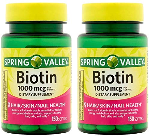 professional Spring Valley Biotin 1000mcg 300 capsules for healthy skin, hair and nails (150 2 bottles …
