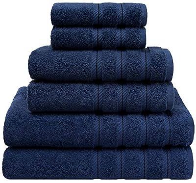 American Soft Linen 6-Piece 100% Turkish Genuine Cotton Premium & Luxury Towel Set for Bathroom & Kitchen, 2 Bath Towels, 2 Hand Towels & 2 Washcloths [Worth $72.95] - Navy Blue