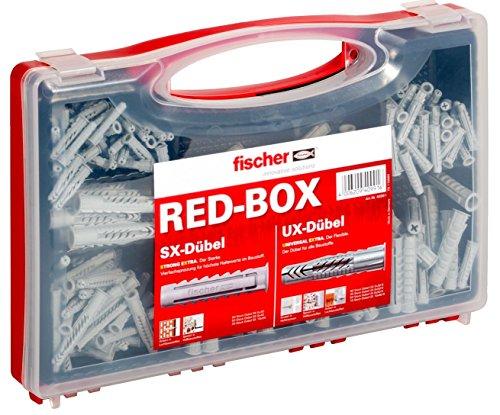 fischer RED-BOX UX / SX, Dübelbox mit 160 Universaldübeln UX & 130 Spreizdübeln SX, vorsortiertes Dübel-Set für zahlreiche Baustoffe und Befestigungen