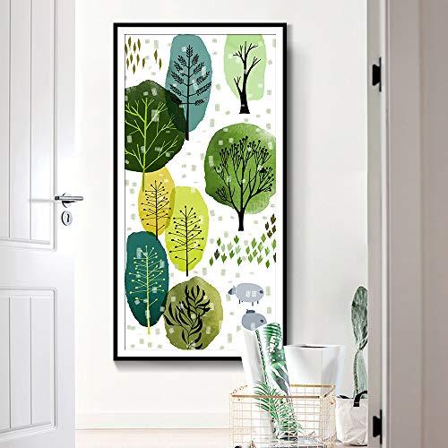 Wleyy kunstschilderij, baby, jongens of meisjes, kunstposter en print bos, abstract, canvas, aquarel, decoratie dieren