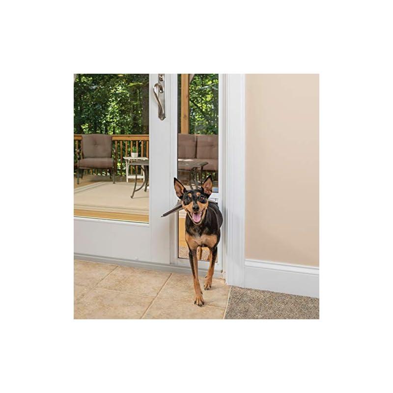 dog supplies online petsafe freedom aluminum patio panel sliding glass dog and cat door - adjustable 91 7/16 in to 96 in - medium white pet door