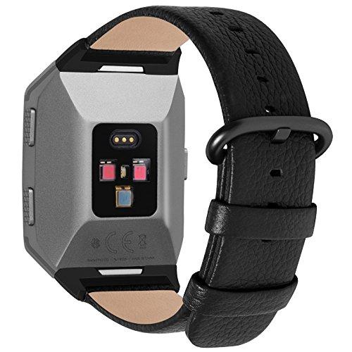 Fullmosa kompatibel Ionic Armband, Echtes Leder Ersatzband,Uhrenarmbänder für Damen und Herren, Schwarz