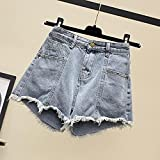 ShSnnwrl Pantalones Cortos de Mujer Shorts Women Fashion Tassel Denim Pockets Retro All-Match Solid Vintage Summer Womens Sexy Plus Size S-5XL T