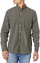 Amazon Brand - Goodthreads Men's Standard-Fit Long-Sleeve Plaid Poplin Shirt with Button-Down Collar, olive check, Large