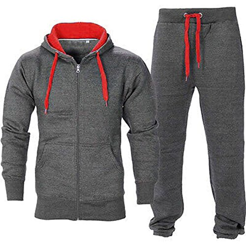 Oops Outlet Men's Gym Contrast Jogging Full Tracksuit Hoodies Fleece Joggers Set Medium Charcoal/Red