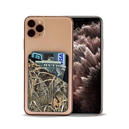 CAMO 노란색과 녹색 전화 카드 홀더 PU 가죽 지갑 3M 시한 접착제에서 신용 카드 ID 경우 주머니를 위해 다시 아이폰의 안드로이드 스마트폰