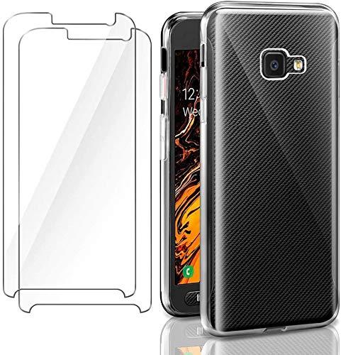 HongMan Funda para Samsung Galaxy Xcover 4S + [2 Unidades] Cristal Templado Protector de Pantalla, Ultra Fina Silicona Transparente TPU Carcasa Protector Airbag Anti-Choque Anti-arañazos Caso
