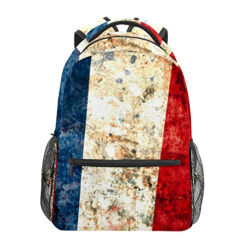 Mochila escolar Bandera de Francia Estudiante Viaje Senderismo Camping Daypack Casual Libro Bolsas Bolsa de Hombro